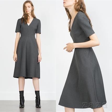 ZARAのシンプルなゲストドレス②グレーの淑女なハイソ感を味方につけて♡
