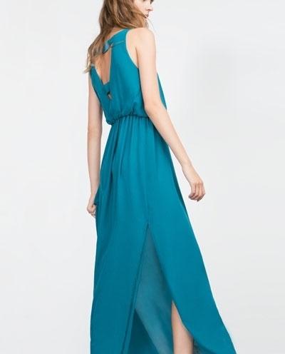 ZARAのシンプルなゲストドレス④トレンドカラーはブルー&グリーン♡