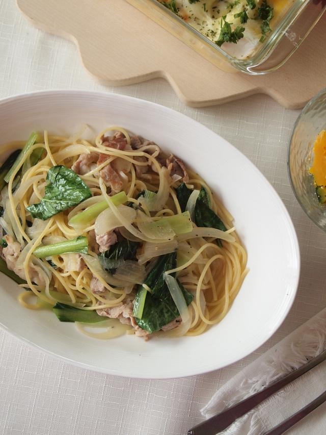 【第1道・主菜】小松菜跟豬肉湯汁義大利麵